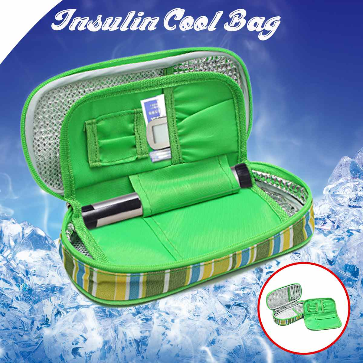 Portable Medicine Diabetic Insulin Cooling Pouch 2-Layer  Cooler Ice Pack Bag Travel Case  Ice Pack Thermal Cooler Bag Refrigera