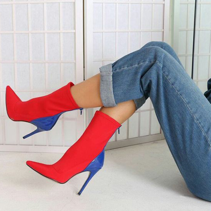 2020 Fashion Luxury Women 11.5cm High Heels Fetish Silk Sock Boots Stretch Heels Blue Ankle Boots Scarpins Prom Spring Red Shoes