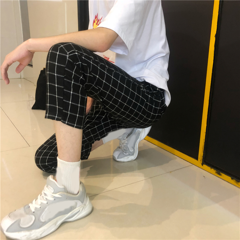 Pant Women Jogger-Trouser Contrast-Checkerboard Harajuku Plaid Hip-Hop Vintage High-Waist title=