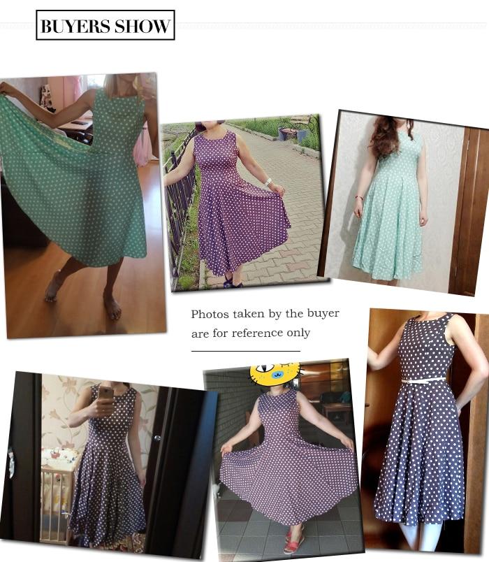 S.FLAVOR Women Vintage Dress Sleeveless O-neck Vestidos De Festa Women Elegant Thin Dot Printing Mid-Calf Casual Dress Female 4