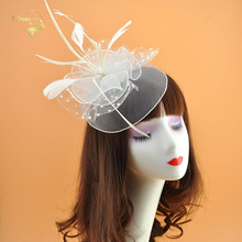 White Feather Mesh Flower Lady Hats with Hairpin Red Wedding Bridal and Fascinator Womens Headdress For Events Party