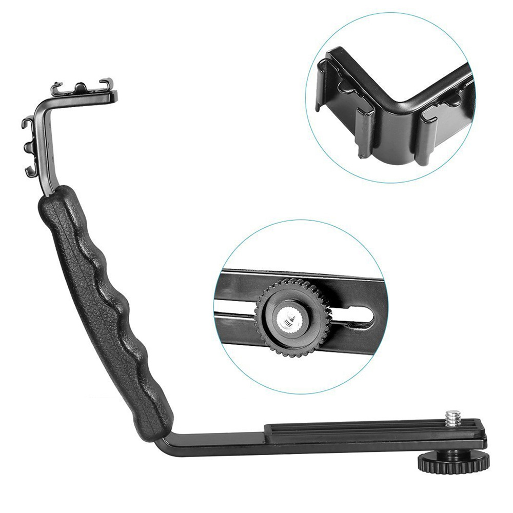 Universal Type L Camera Flash Bracket Camera Grip L Bracket With 2 Standard Side Hot Shoe Mount Video Light Flash