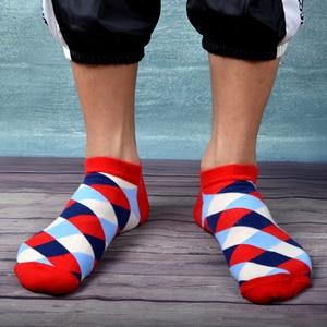 Image 2 - SANZETTI 12 זוגות\חבילה גברים מקרית קיץ קרסול גרבי צבעוני שמח מצחיק מסורק כותנה פסים חידוש היפ הופ Tendy קצר גרביים