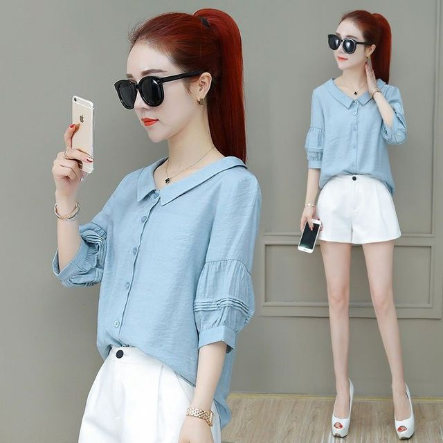 Fashion Women Spring Summer Style Blouses Lady Casual Shirt Short Sleeve Peter Pan Collar Women Clothes Blouses Tops DF3324 3