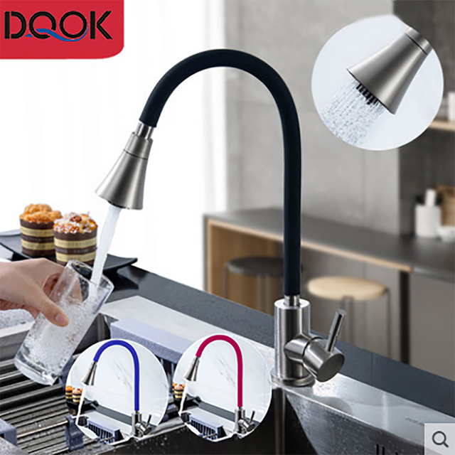 DQOK Silica Gel Nose Any Direction Rotating Kitchen Faucet Cold and Hot Black Blue Water Mixer Red Single Handle Kitchen Tap 1