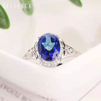 925 Sterling Silver Natural Blue Topaz Open Ring Fine Jewelry for Women Oval Shaped Gemstone Ring Classic Engagement Gift