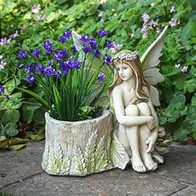 Garden flower fairy angel home decoration accessories resin elf girl ornaments fairy tale garden figurines crafts Christmas gift