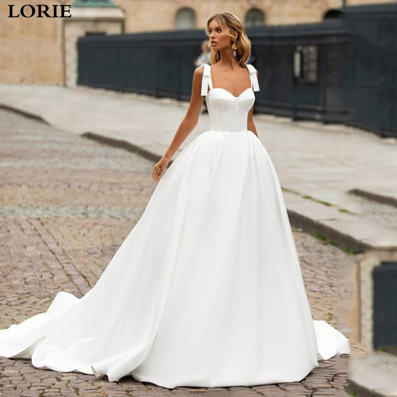 LORIE Princess Wedding Dress Satin  A Line Straps Bride Dresses Sleeveless Backless Weddin Gown Vestido De Novia 2019