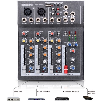 Mini Portable Audio Mixer with USB DJ Sound Mixing Console MP3 Jack 4 Channel Karaoke 48V Amplifier for Karaoke KTV Match Party
