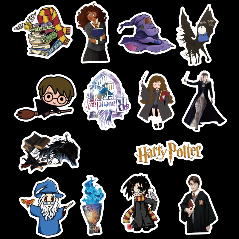 Image 2 - 50pcs Pack Potter PVC Harry Stickers For Kids Luggage Skateboard Laptop Cartoon Movies Sticker For Children-in Stickers from Toys & Hobbies