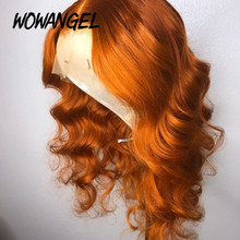 Gengibre laranja onda do corpo peruca dianteira do laço 13x6 perucas de cabelo remy brasileiro 150 densidade peruca preplucked e descorado nós peruca do laço