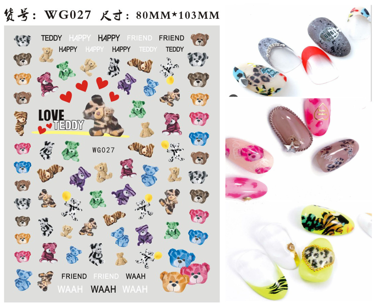 Wg27-048 Nail Sticker Leopard Bear English Lettered Manicure Stickers Nail Sticker Japan New Style Lettered