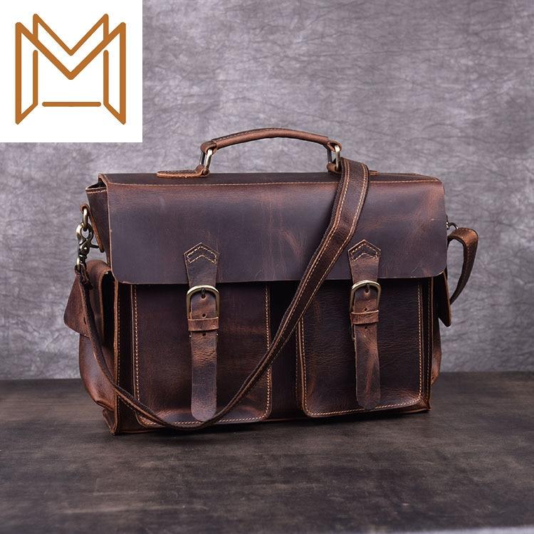 Crazy Horsehide Single Shoulder Package Oblique Satchel Genuine Leather Head Layer Cowhide Portable Briefcase Package