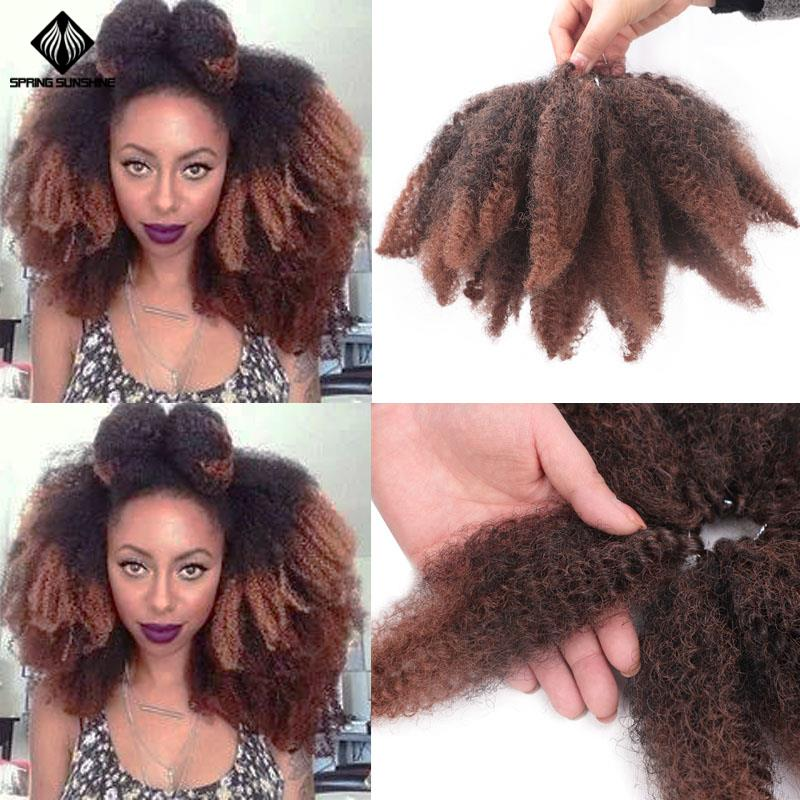 Spring Sunshine 8'' Ombre Marley Braids Soft Afro Twist Crochet Braid Synthetic Braiding Hair Extensions For Black Woman