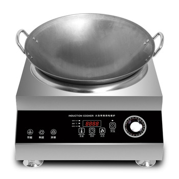 цена на 5000W Commercial Induction Cooker Concave Electric Cooker Stainless Steel Kitchen Canteen Big Power Cooking Machine Stove