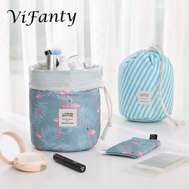 旅行化粧品メイクアップバッグオーガナイザー男性女性トイレタリーバッグ大容量巾着化粧バッグブルー +
