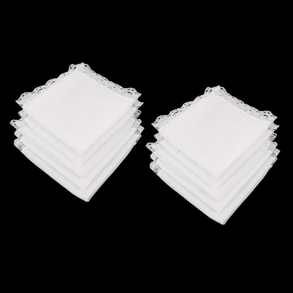 23 X 25  White Pure Cotton Handkerchiefs With Lace Trim 10pcs Blank Lace Hankies For Wedding Women Pocket Square носовые платки