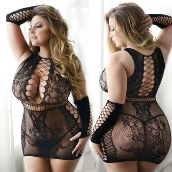 Sexy Hot Plus Size Hollow Out Bodystocking Open Crotch Crotchless Sleeveless Lingerie Underwear For Sex Transparent Mesh Dress - discount item  50% OFF Exotic Apparel