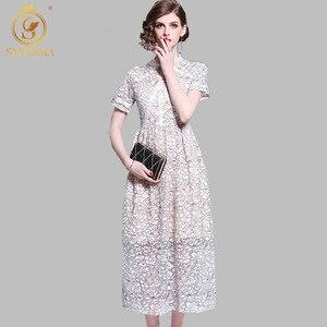 Женское кружевное платье с коротким рукавом, элегантное праздничное ажурное платье, длинное кружевное платье, Новинка лета 2019