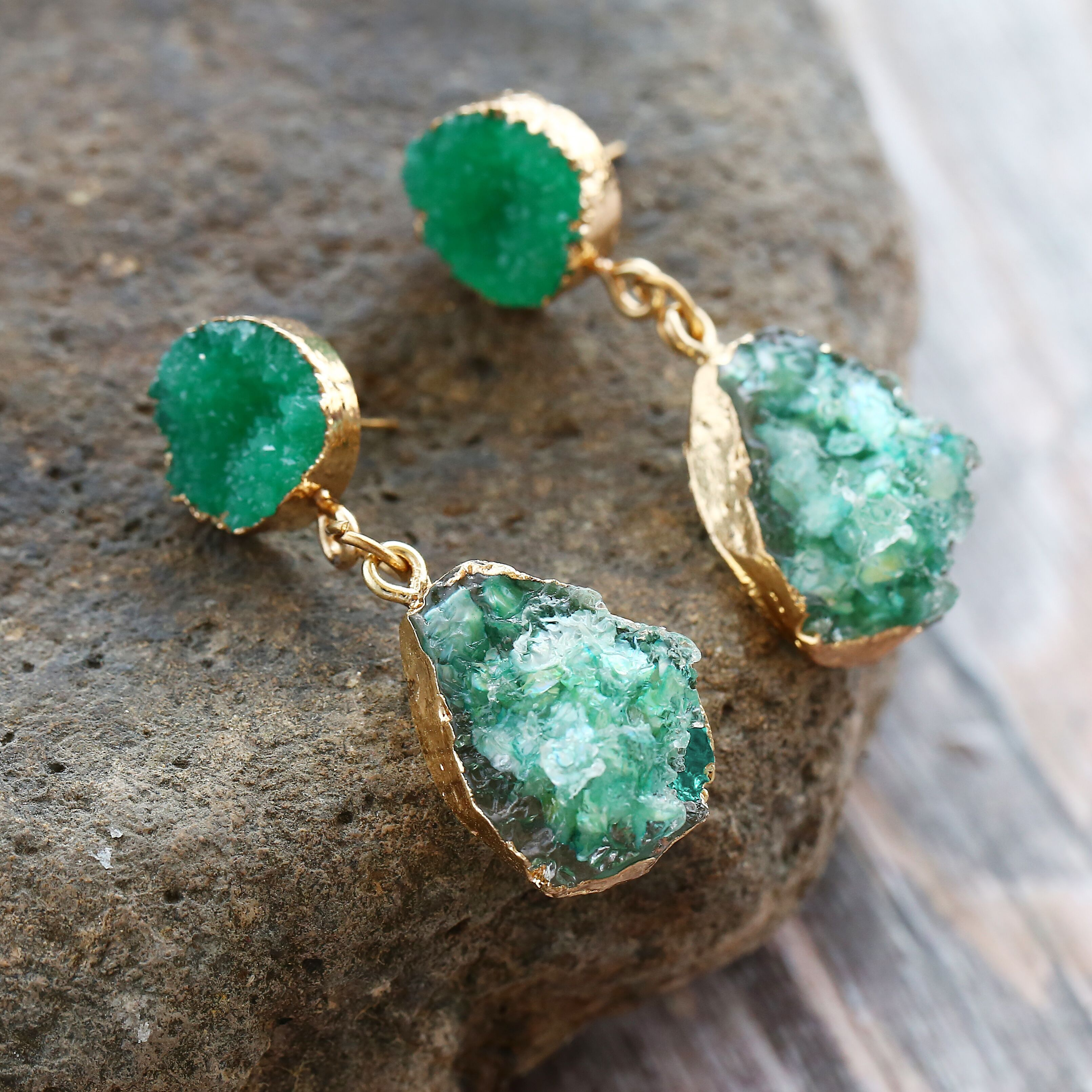 17KM Druzy Earings Chandelier Stone Vintage Jewelry Mix-Colors Resin Bohemian Green Women