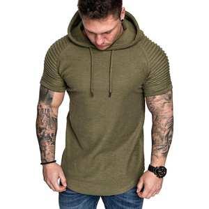 Tops Hoodies T-Shirt Short-Sleeve Bodybuilding Male Cotton Men's Summer Fit Casual VODOF