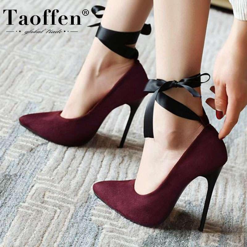 TAOFFEN Women Fashion High Heel Court Shoes Strap