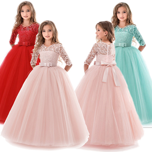 Summer Girl Lace Dress Long Tulle Teen Girl Party Dress Elegant Children Clothing Kids Dresses For Girls Princess Wedding Gown(China)
