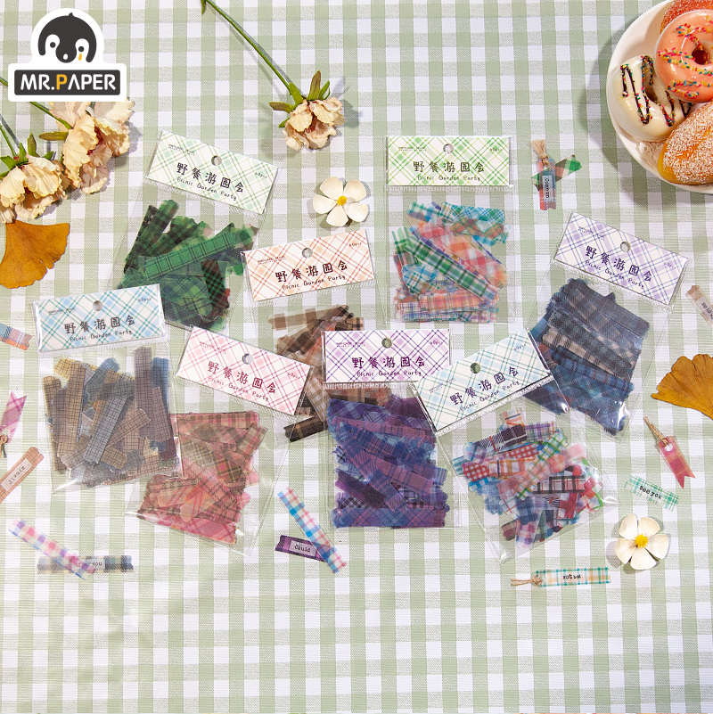 Mr.paper 8 Designs Garden Party Tatan Girlish Deco Stickers Scrapbooking Bullet Journal Toy Deco Album DIY Stationery Stickers