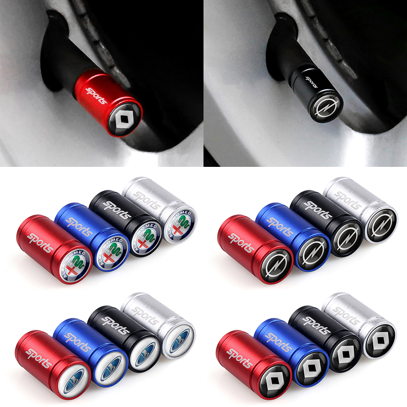 4Pcs 4 Colours Metal Sport Wheel Tire Valve Caps Case For Nissan Audi Mercedes Cadillac Ford Volvo Renault Opel BMW Accessories