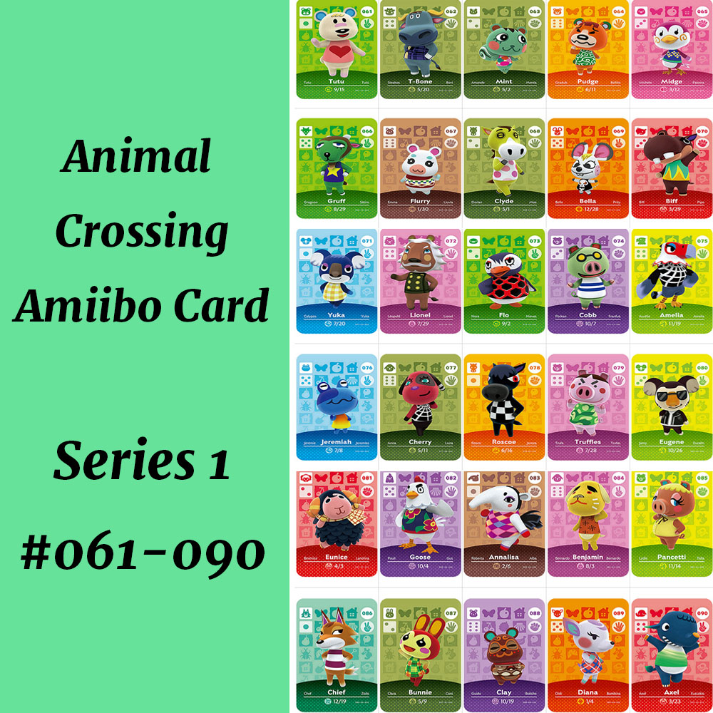 Series 1(061-090) Amiibo Card Work For NS Games Animal Crossing Card Diana Flurry Bunnie Goose Character Cards
