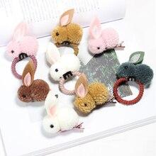 Headwear Hair-Accessories Hair-Ball Girls Rubber-Band Cute Rabbit Rope Female Children's