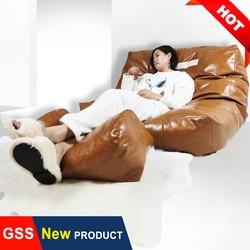 Çift PU deri duvara köşe fasulye torbası kanepe puf hiçbir dolgu büyük Beanbag yatak puf kat koltuk kanepe Futon recliner sandalye