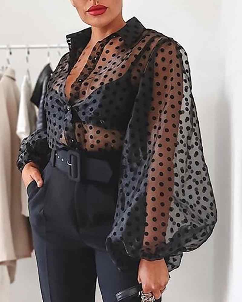 ใหม่แฟชั่นผู้หญิงฤดูร้อนสบายๆเสื้อมุมมองสีดำสีชมพูสีขาวลูกไม้ตาข่ายหญิง Dot Casual ฤดูใบไม้ร่วง Outwear