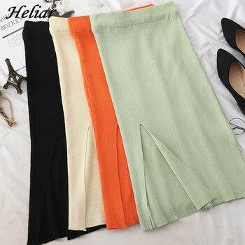 HELIAR Fork Midi Skirt Campus Mini Skirt Beach Skirt Korean Style Skirt A-Line High Waist Casual Skirt Female Skirt For Women фото