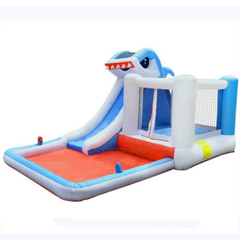 цена на Kids Inflatable Shark Trampoline Water Bounce Slide House Jumper Bouncer Jump Bouncy  Bouncing Castle with Blower and Pool