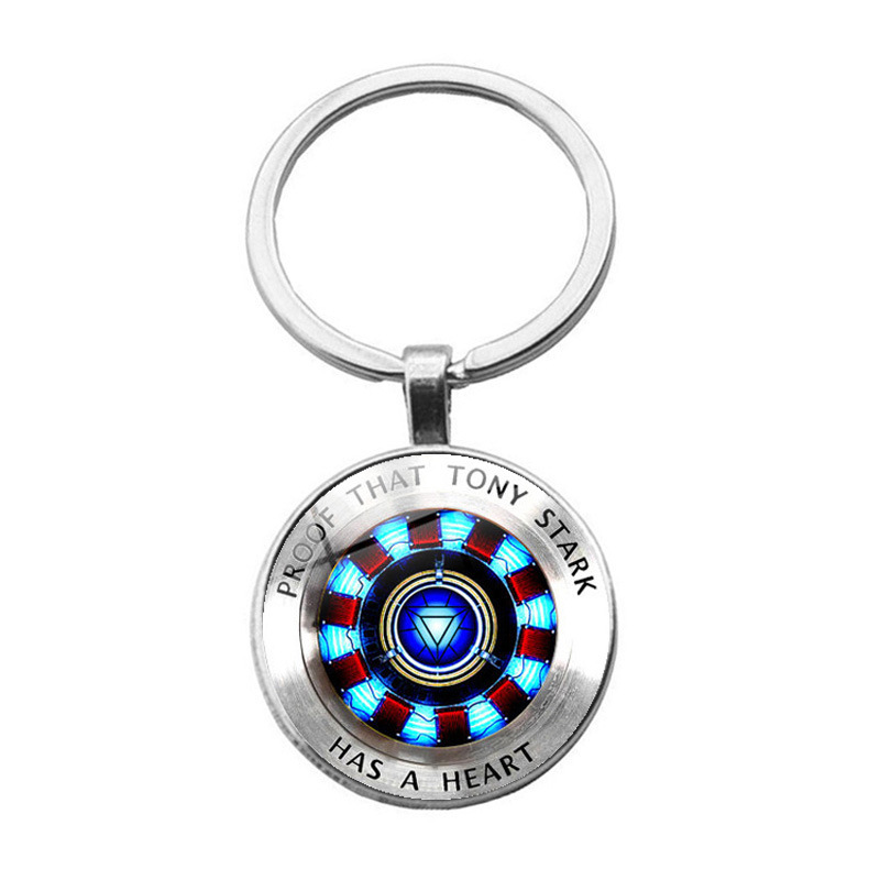 Iron Man Tony Stark Glass Pendant Keychain Male charm key chain High grade Pendant Gifts for men Marvel Movie Jewelry image