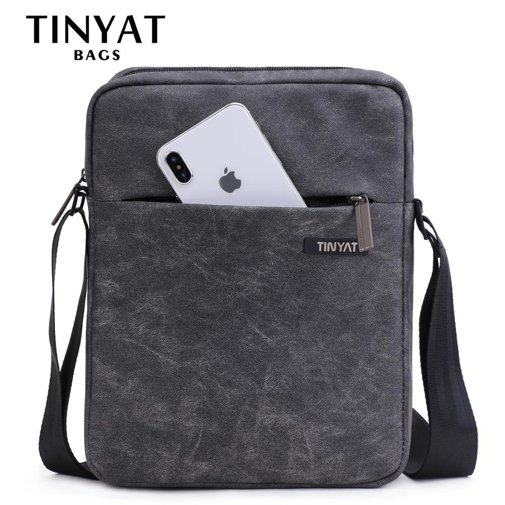 TINYTA Men's Bag Leather Men Shoulder Bag For 9.7'pad PU Waterproof Casual Crossbody Bag Shockproof Messenger Bag Shoulder Gray