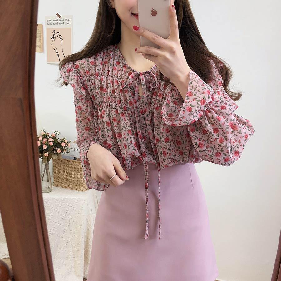Haa37eb9d83c84d78a3fb989156d5cf05J - Spring / Autumn Lace-Up Collar Long Sleeves Floral Print Blouse