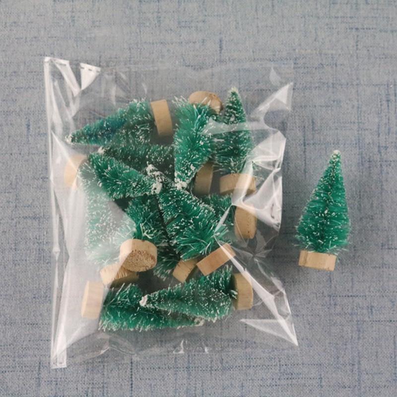 12 шт мини-елка сизаль шелк кедр-украшение маленькое Рождественское дерево-золото синий зеленый белый мини дерево - Цвет: GR