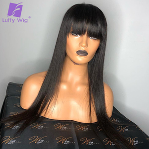 Image 5 - Long Straight Full Lace Human Hair Wigs With Bangs 150% Density Glueless Remy Brazilian Hair Bleached Knots For Women LUFFY