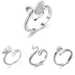 1PC réglable Rose fleur cygne forme tricot boucle crochet boucle tricot accessoires tricot anneau ajuster doigt usure anneau