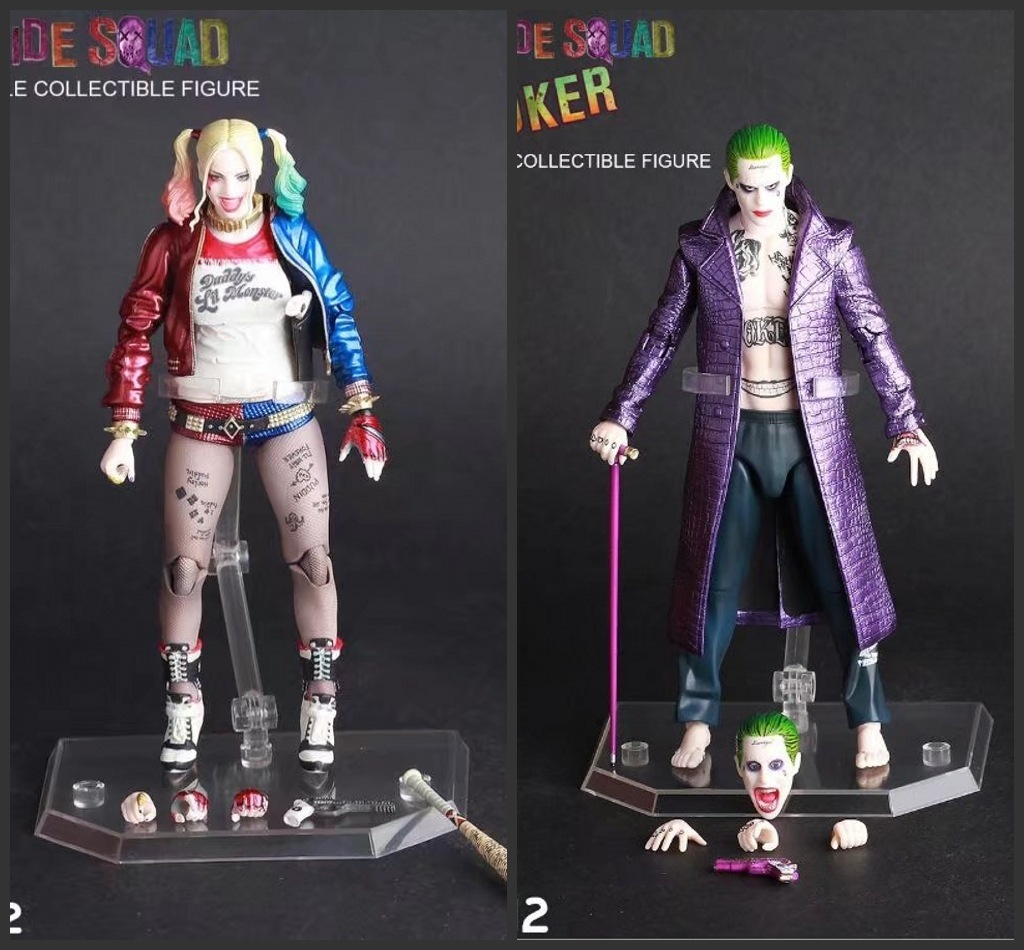 Movie Anime Crazy Toys 1:12 Suicide Squad Harley Quinn & Joker Bjd Action Figure Collectible Model Toy 7inch 18cm Figurine