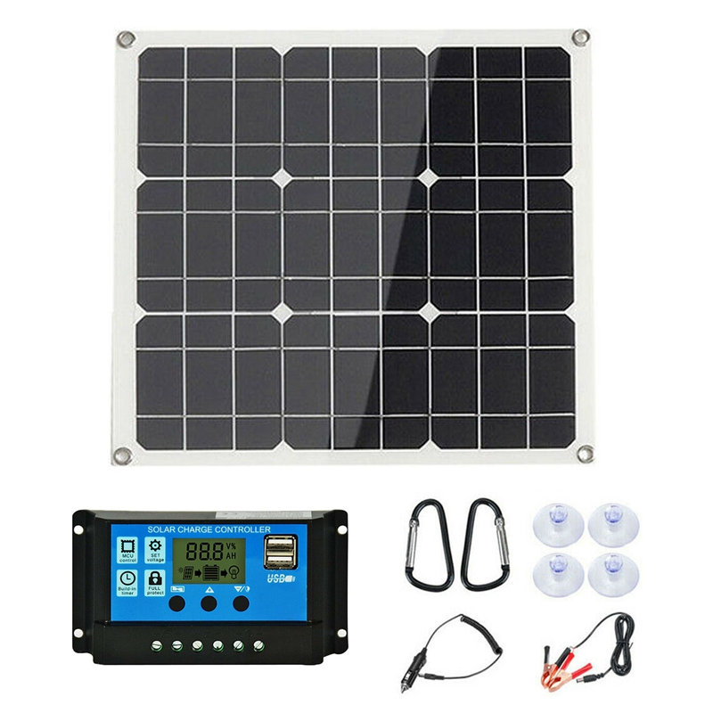 New 200W Solar Panel Kit with LCD Solar Controller 12V RV Boat Off Grid 200 Watt