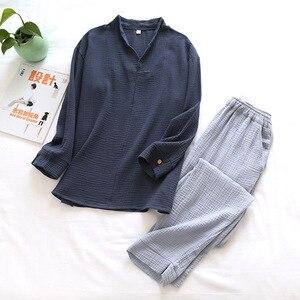 Mężczyźni kobiety 100% bawełna domowa piżama zestaw Casual miękkie szlafroki koszule spodnie japońskie Kimono Pijama pary bielizna nocna topy spodnie