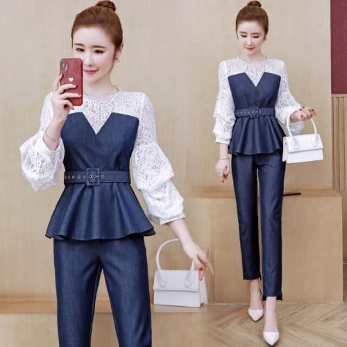 Roupa feminina de duas peças na moda rendas terno feminino ol 2 peças define roupas femininas ano de idade traje feminino conjunto feminino
