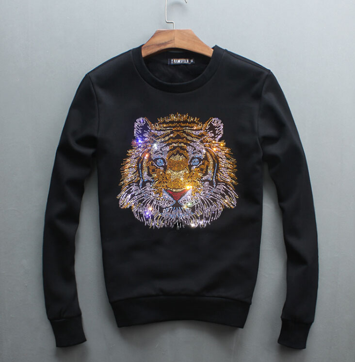 Spring And Autumn Men's Long Sleeves Plush And Thickened Hot-rolled Tiger Head Fashion Warm Pullover Men's Hoody
