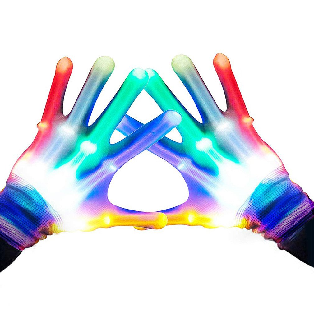 LED Flashing Gloves Novelty Cool Fun Toys Glowing Festival Party New Super Bright Rainbow Lighting Stage Decor Gloves
