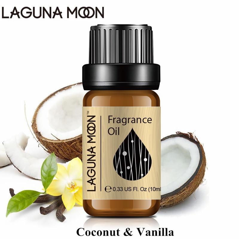 Lagunamoon 10ml Coconut Orange Fragrance Oil Fresh Linen Flower Fruit Essential Oil Strawberry Bubble Gum Parma Mandarin Oil