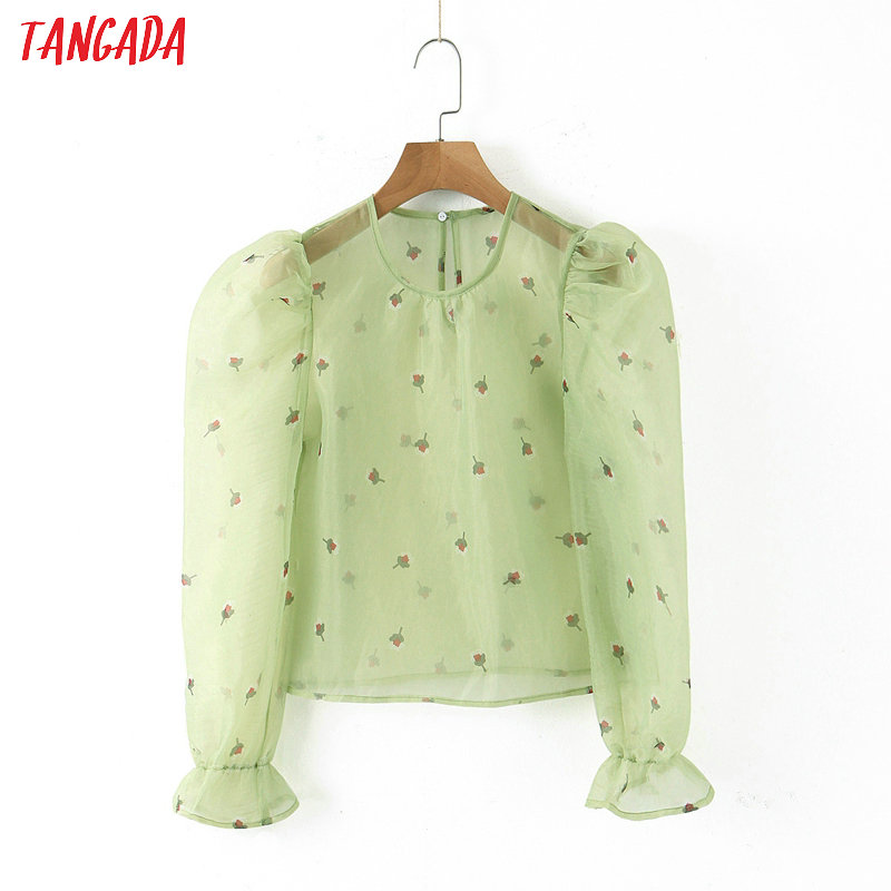 Tangada Female Chic Floral Print Green Oragnza Print Transparent Shirt Long Sleeve See Through Blouse Casual Fashion Tops SL303