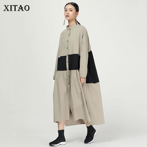 Image 1 - XITAO קפלים להיט צבע Midi שמלת נשים מקורי עצמאי עיצוב יחיד שד אלגנטי טלאי אלת מאוורר שמלת WQR1642